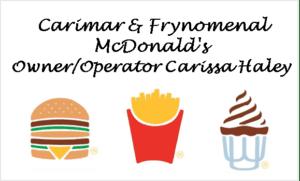 Carimar McDonald's Sponsor